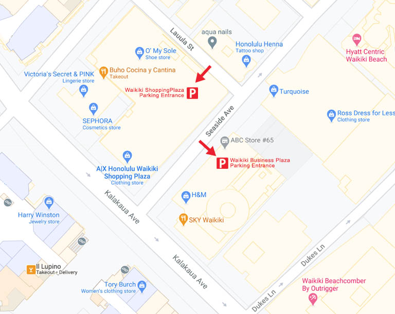 Waikiki Business Plaza Parking Map